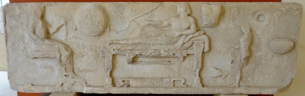 "The so-called ""Totenmahl Relief,"" with a reclining Archilochus being worshipped as a cult hero."
