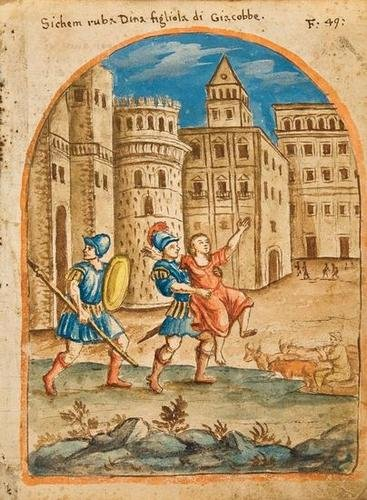 Shechem seizes Dinah (17th century).