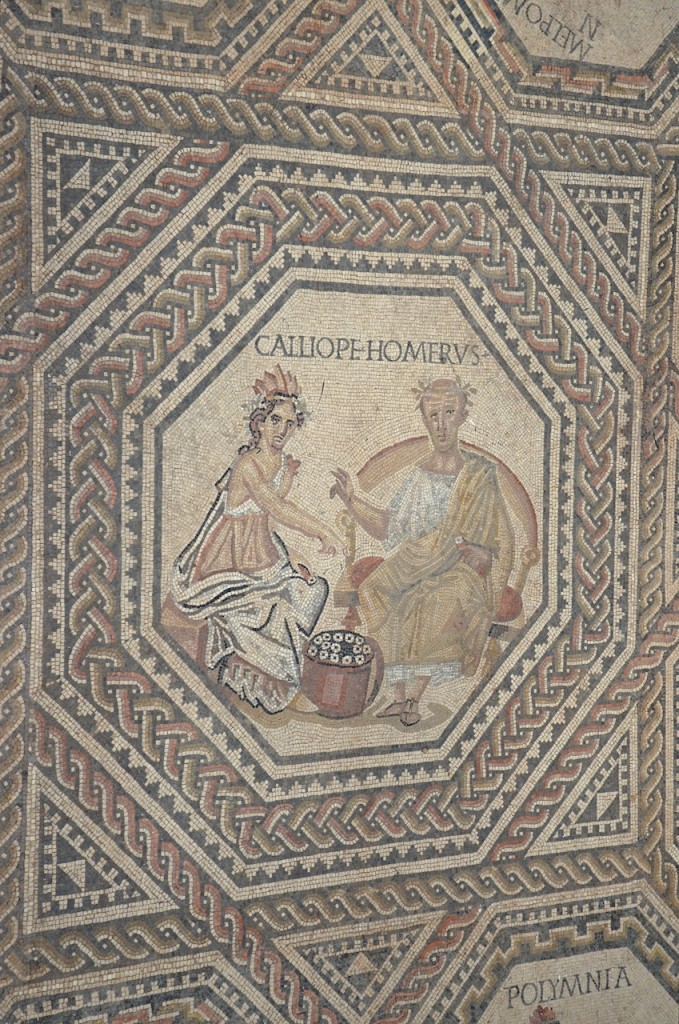 Central medallion of the Vichten mosaic (about 240 CE). National Museum of History and Art, Luxembourg.