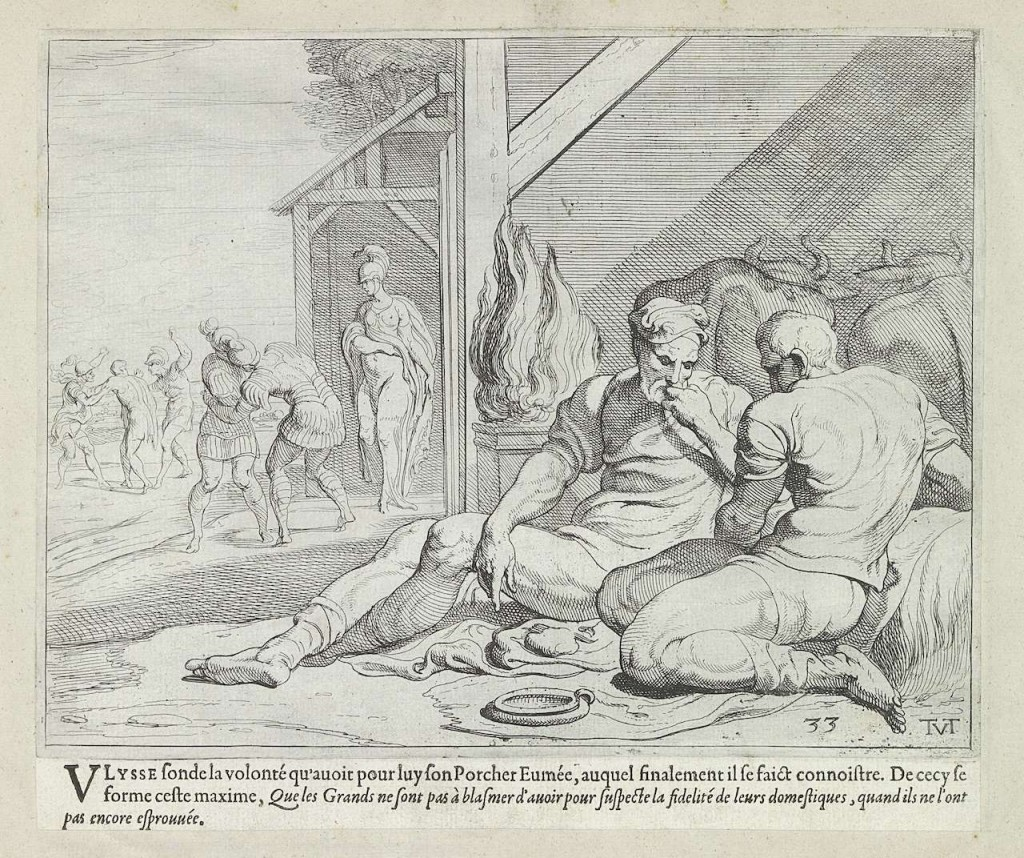 Odysseus and Telemachus in the hut of Eumaios (1633). Theodoor van Thulden (1606–1669).
