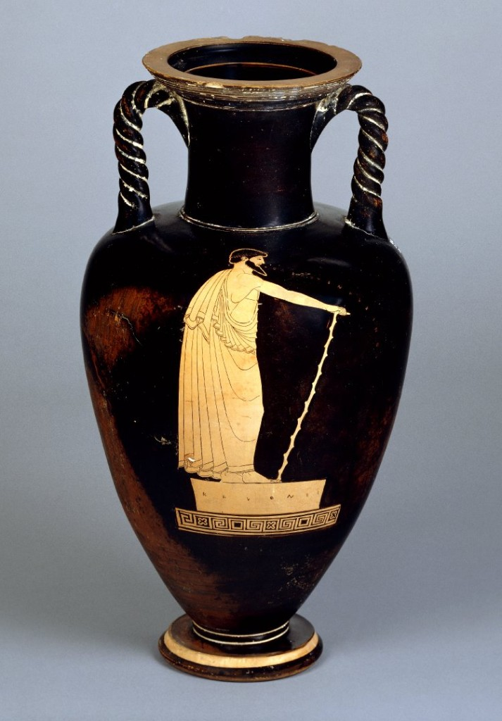 Amphora with red-figure painting of a rhapsode (490–480 BCE). British Museum 1843,1103.34.