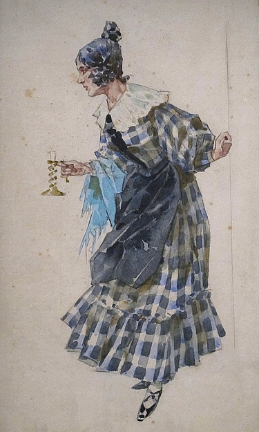 Costumer's sketch of Mimí in Act I, for the premiere production.