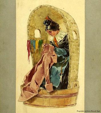 Costume design for la rappezzatrice 'the seamstress' in the poster for the world premiere performance of La Bohème, Teatro Regio di Torino, 1 February 1893. Adolf Hohenstein (1854–1928).