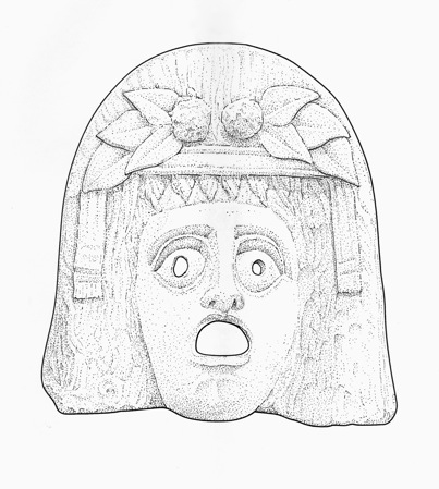 Mask of Dionysus, found in Myrina (now in Turkey). Terracotta. 2nd–1st centuries BCE. Paris. Musée du Louvre. Department of Greek, Etruscan and Roman Antiquities (Myr. 347). Line drawing by Valerie Woelfel.