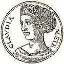 Clodia Metelli, the first or second daughter of the patrician Appius Claudius Pulcher and Caecilia Metella Balearica. Engraving from Promptuarium Iconum Insigniorum, published by Guillaume Rouillé (Lyon, 1553).