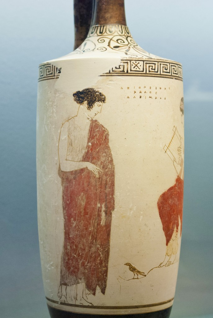 Attic white-ground lekythos, 440–430 BCE, by the Achilles Painter.