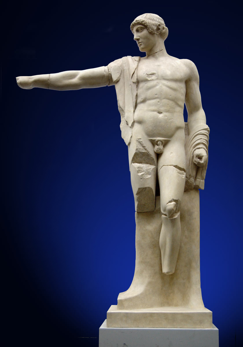"""The figure of """"Apollo"""" from the west pediment of the Temple of Zeus in Olympia. Modern plaster cast of the original in the Olympia Museum."""