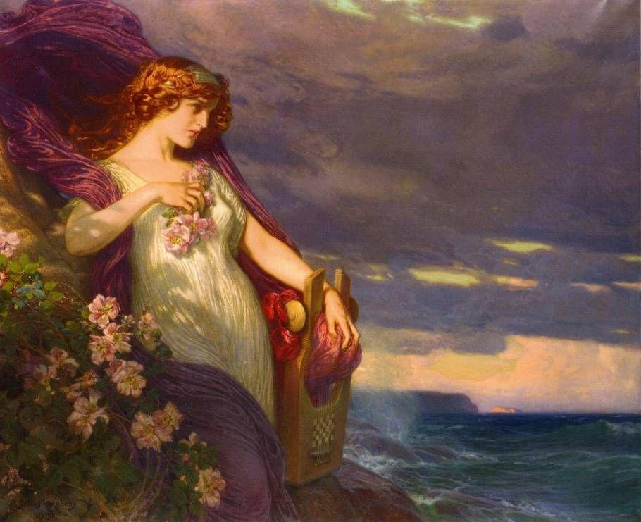"""Sappho"" (1913), by Julius Johann Ferdinand Kronberg (1850–1921)."