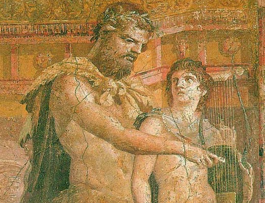 Cheiron instructs the young Achilles, detail. Herculaneum.