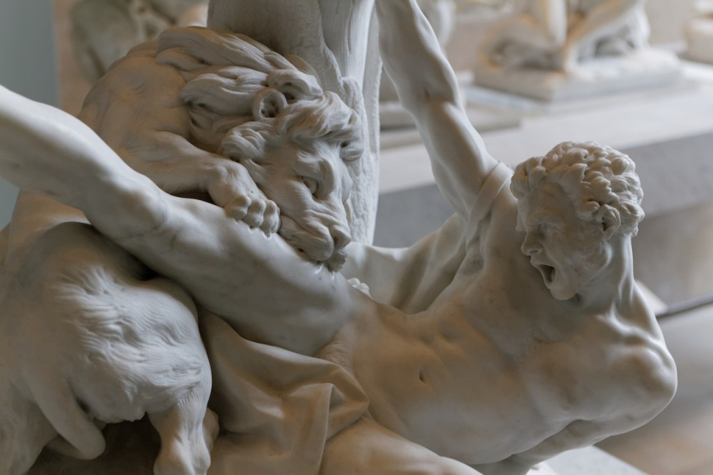 Milo of Croton and the lion.