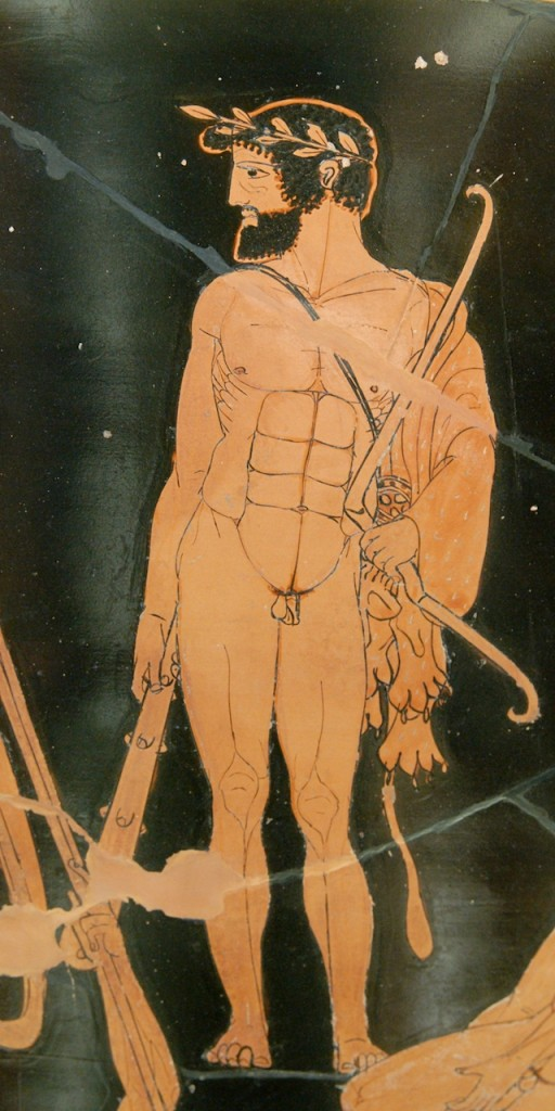 Herakles with club and Olympic garland and lionskin and bow.