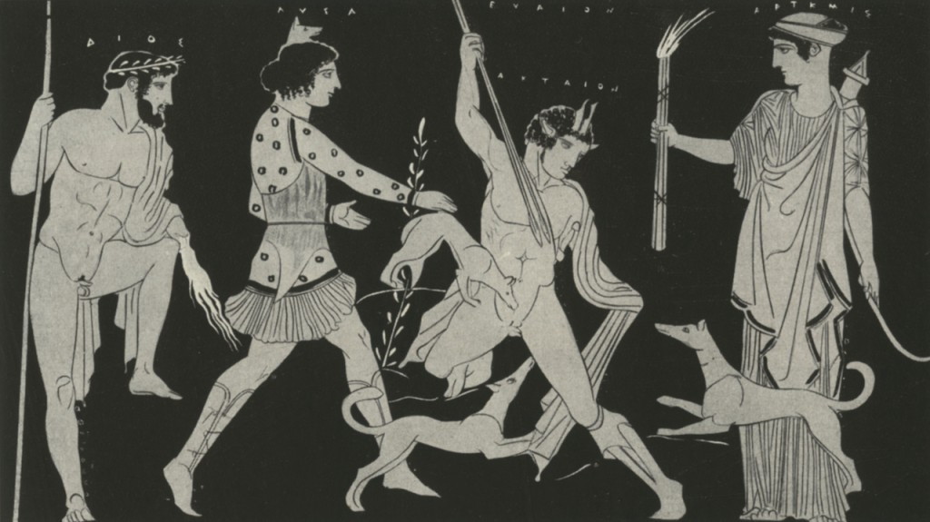 Red-figure krater by the Lykaon Painter: Actaeon devoured by his dogs, who have been driven mad by Lyssa, a personification of madness. Lyssa, in a short hunter's tunic, wears cap with a canine head. Looking on are Zeus (left) and Artemis (right).
