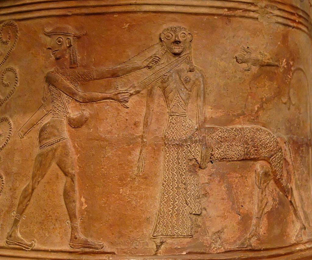 Perseus averting his gaze as he kills Medusa, represented here as a Centaur.