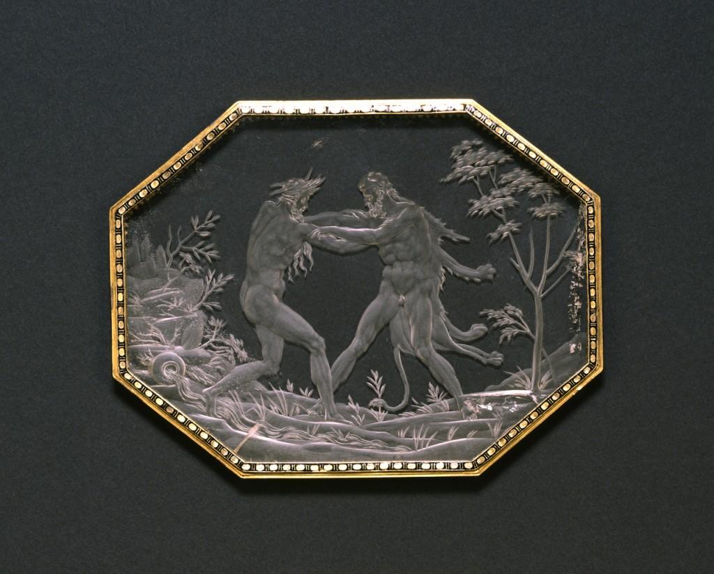 A wrestling match between Hēraklēs and Achelous (ca. 1560–1570). Annibale Fontana (Italian, 1540–1587).
