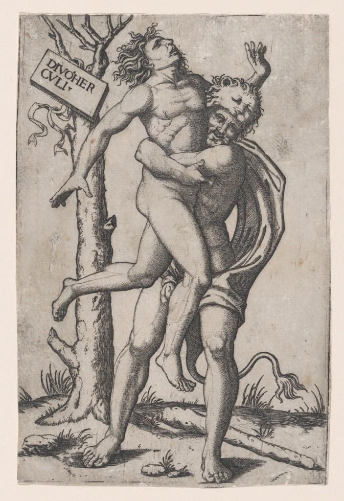 A wrestling match between Hēraklēs and Antaios (ca. 1500–1550). School of Marcantonio Raimondi (1480–1534).
