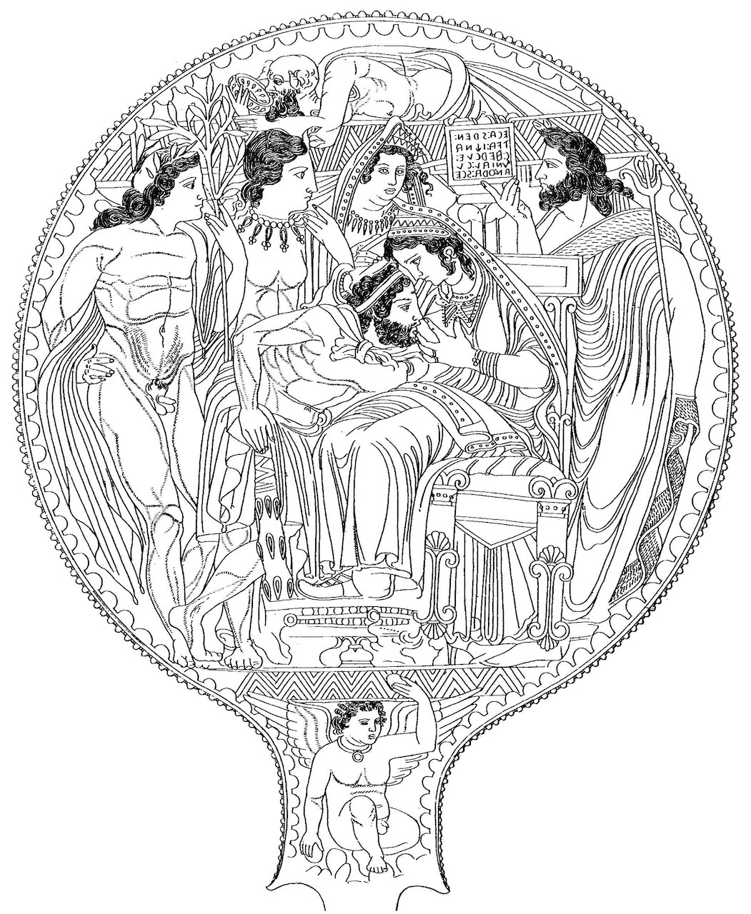Uni nursing the adult Hercle in front of divine witnesses. Etruscan mirror from Volterra.