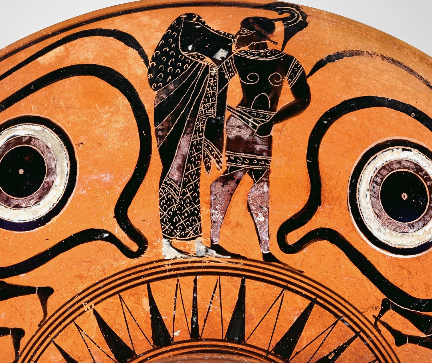 Attic drinking cup, 540–530 BCE, Helen and Menelaos, Metropolitan Museum of Art