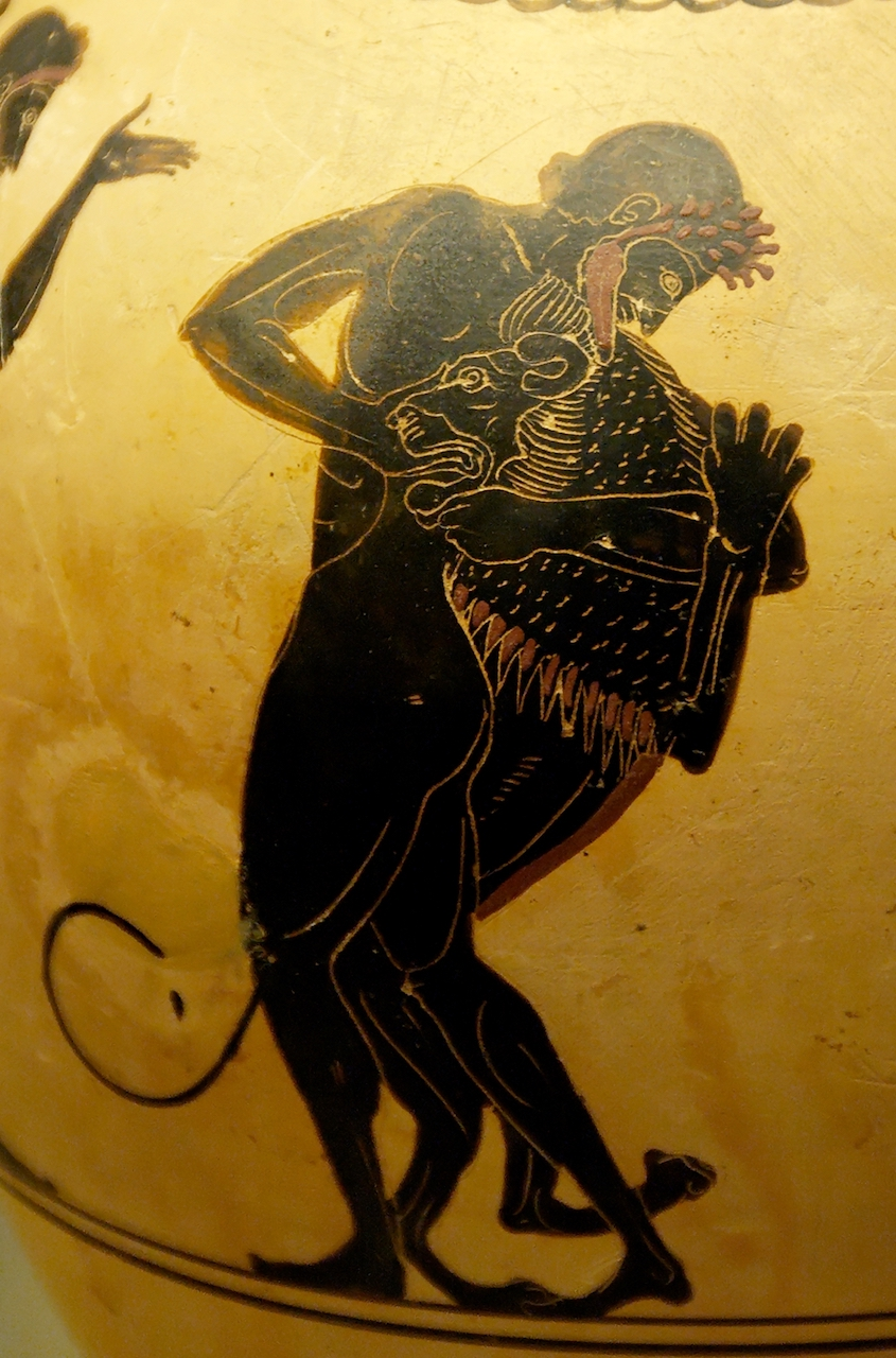 Hēraklēs and the Nemean Lion. Attic white-ground black-figured oinochoe (ca. 520–500 BCE).