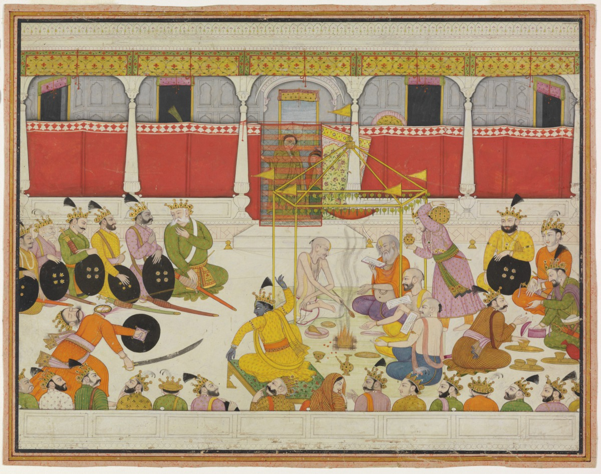 Krishna slays King Shishupala (ca. 1780, by an artist in Guler, India). Image via the Virginia Museum of Fine Arts.