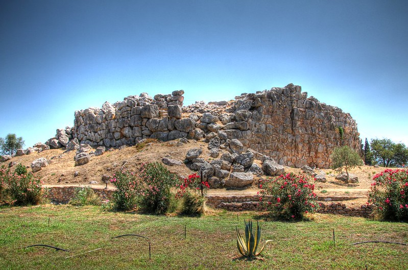 The ruins of the ancient acropolis of Tiryns