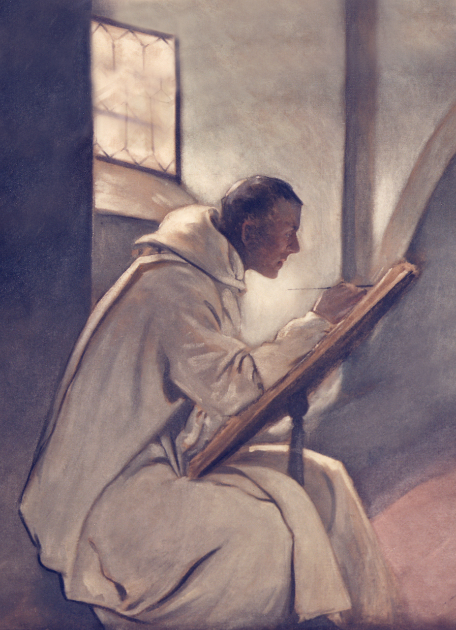 Seated scribe dressed in white robes writing with a pen.