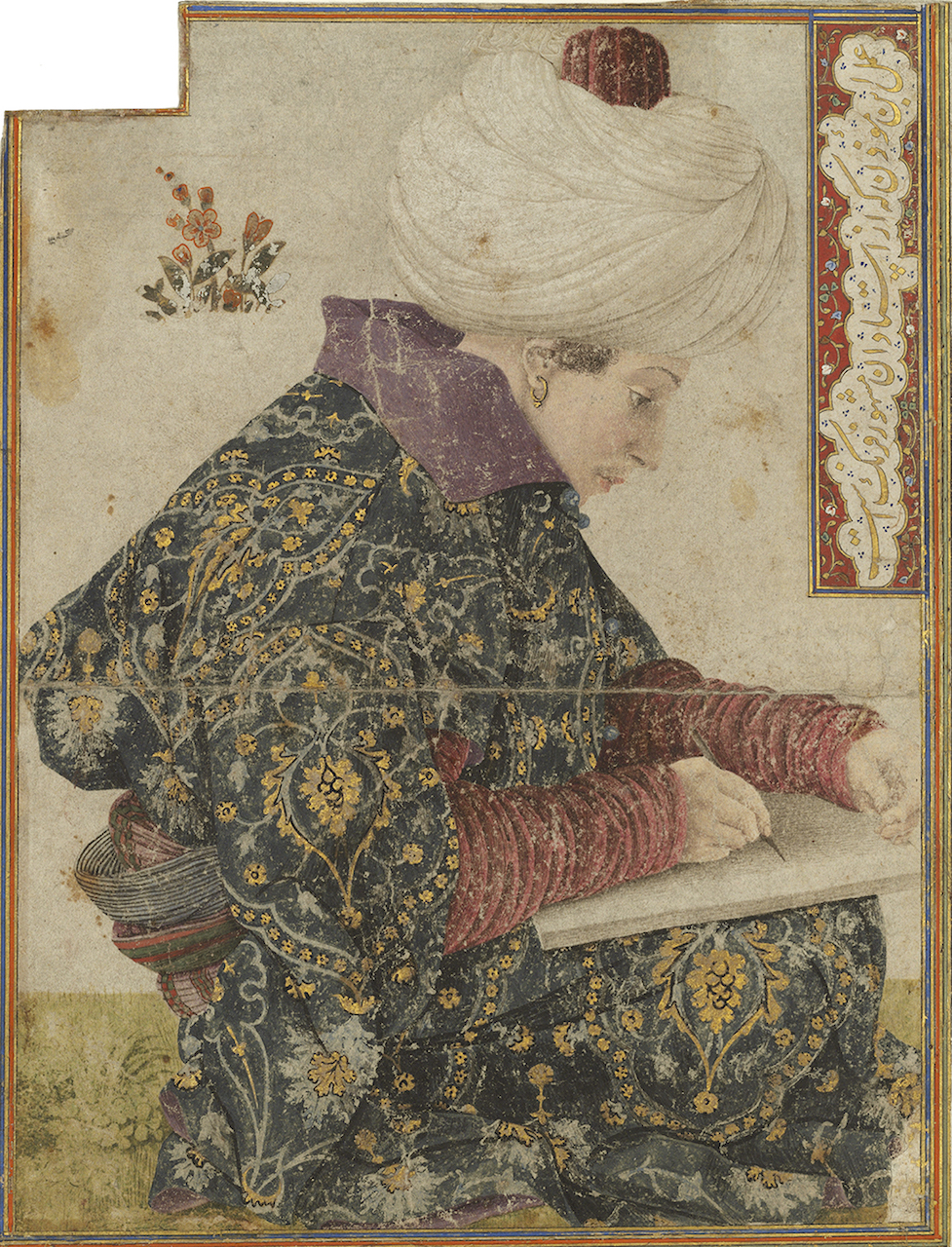 Depiction of an elegantly dressed Ottoman scribe done in pen in brown ink with watercolor and gold on paper.