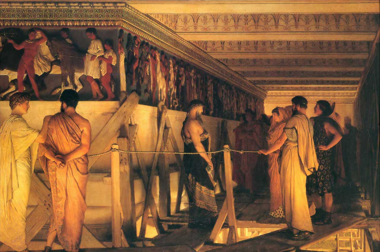 Phidias Showing the Frieze of the Parthenon to his Friends (1868). Lawrence Alma-Talmeda (1836–1912).