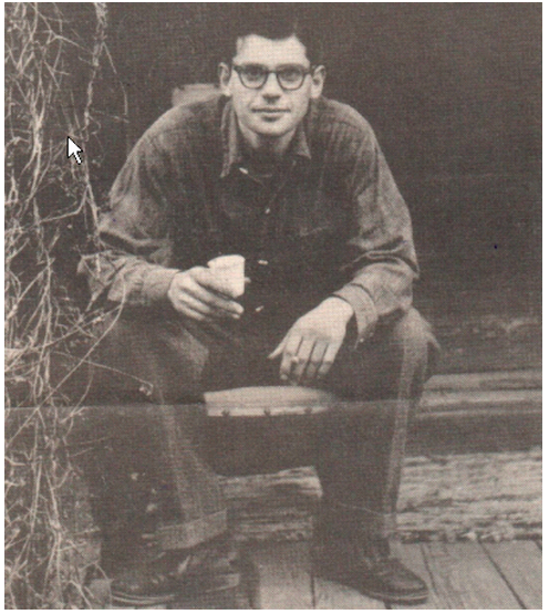 Allen Ginsberg on the front porch of his rented cottage at 1624 Milvia Street in North Berkeley, sometime in 1955 or 1956.