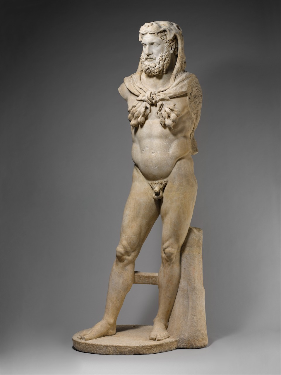 Marble statue of a bearded Hercules, 1st century CE, with restorations dating from the 17th century.