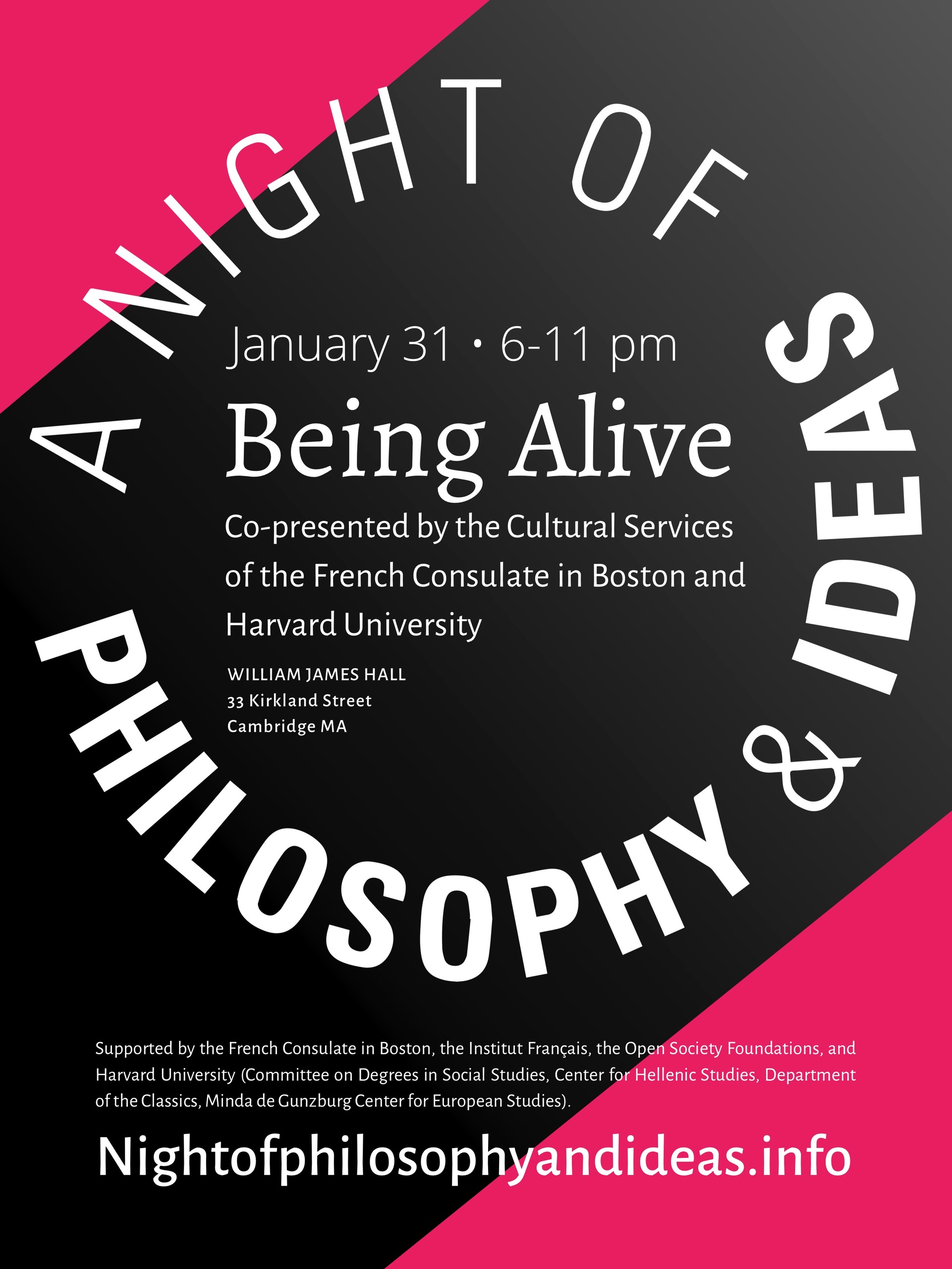 """Poster for """"A night of philosophy and ideas"""""""