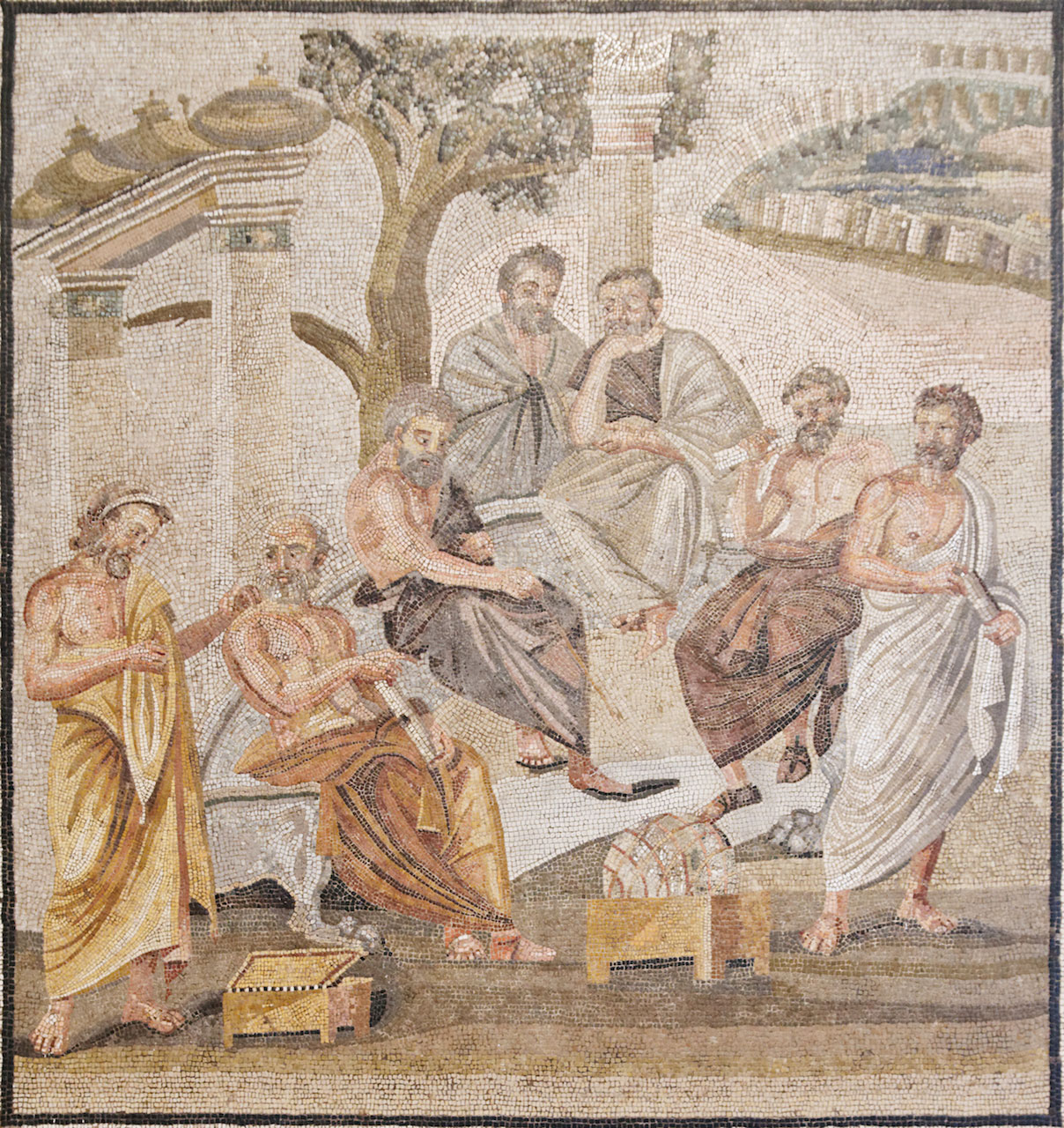 Roman mosaic: Plato's Academy. From the House of T. Siminius Stephanus, Pompeii, ca. 1st century BCE; now in the Museo Nazionale Archeologico, Naples.