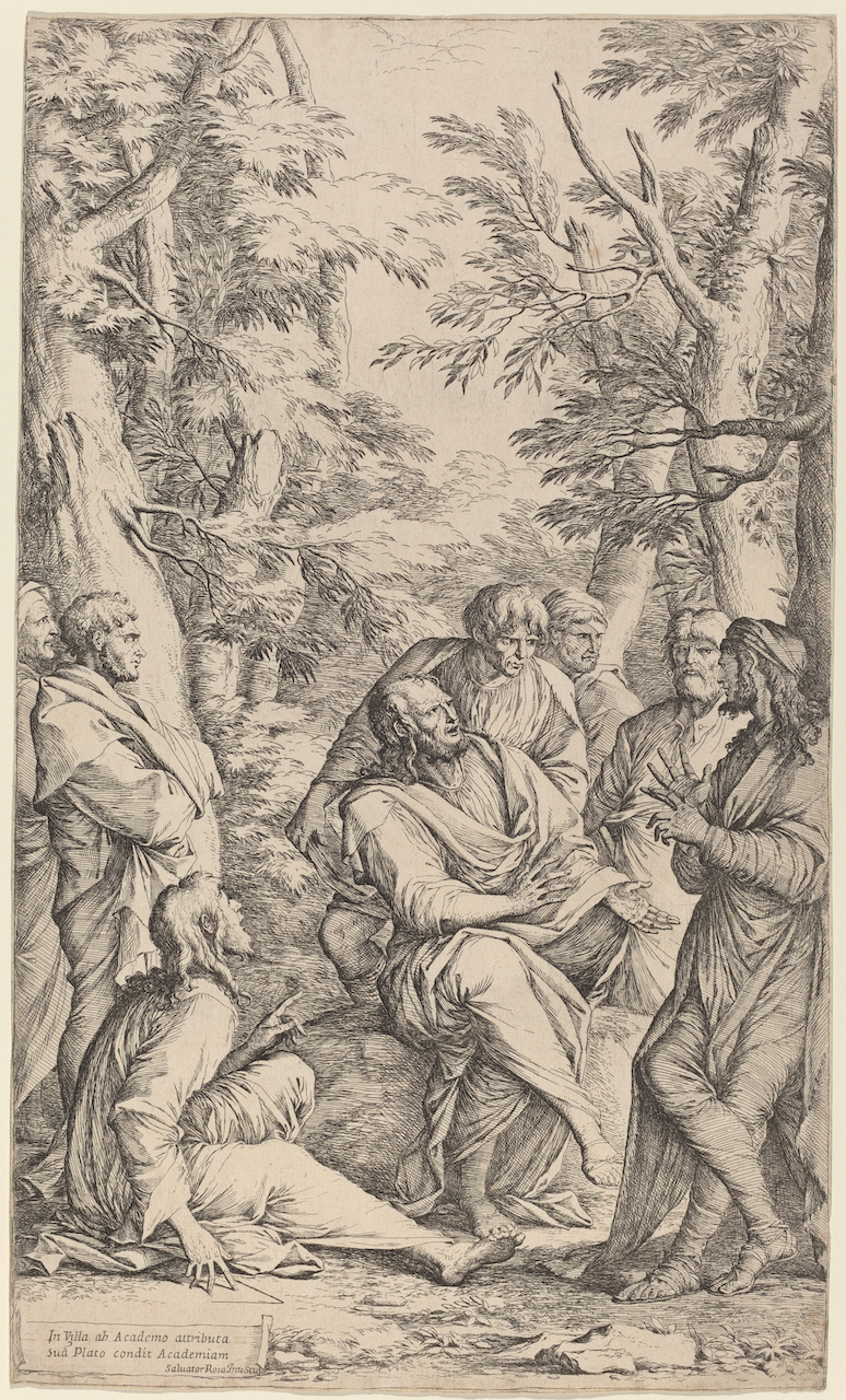 """""""The Academy of Plato."""" Etching by Salvator Rosa (1615–1673), now in the National Gallery of Art, Washington, DC."""