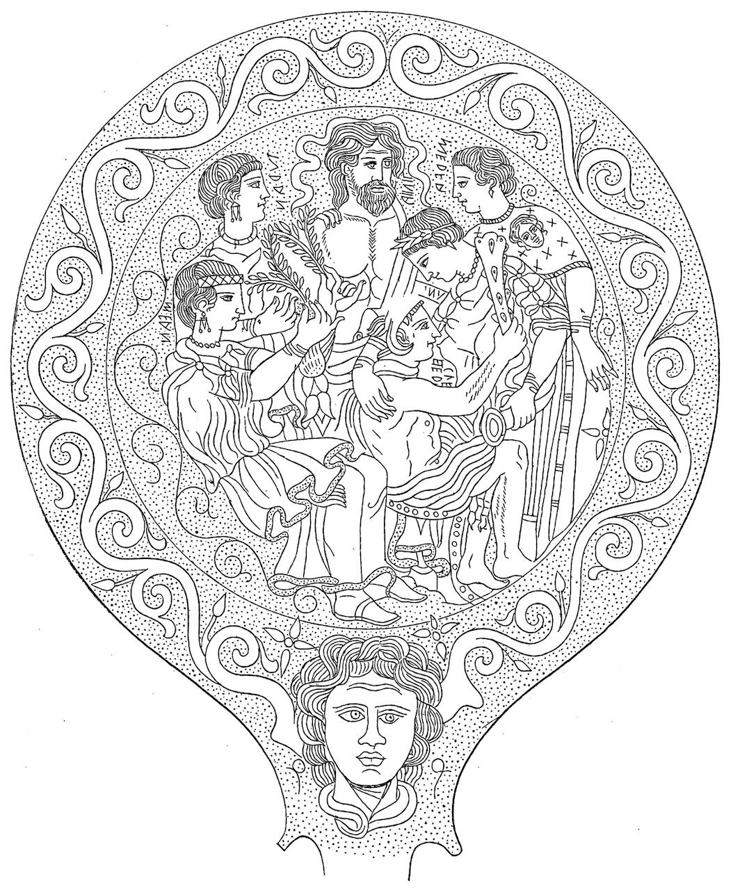 Line drawing of an Etruscan mirror, ca. 3rd century BCE. Uni (Latin Juno, = Hērā) nursing the adult Hercle (Hēraklēs).