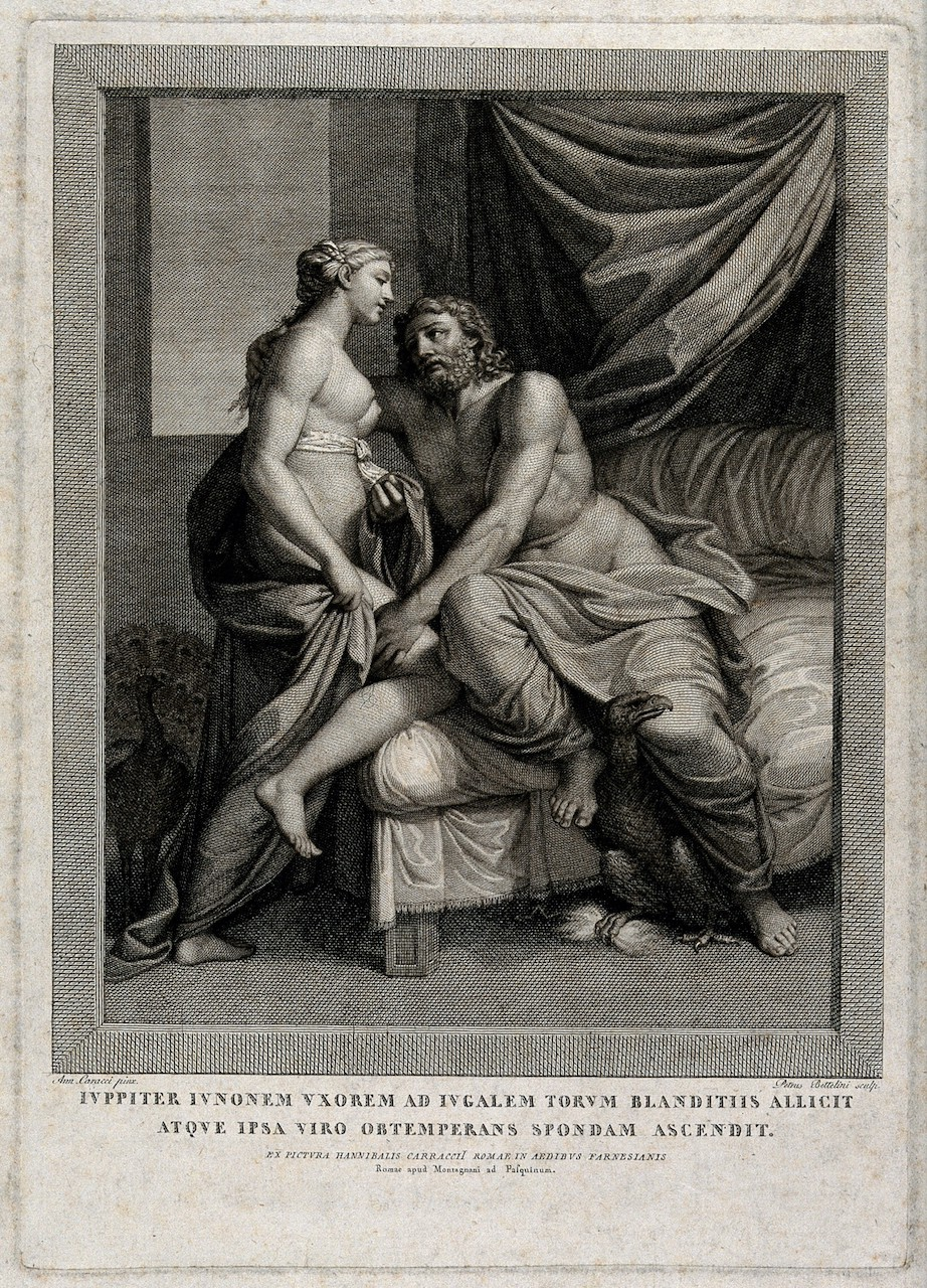 Jupiter and Juno. Engraving by Pietro Bettelini (1763–1829) after a painting by Annibale Carracci (1560–1609).