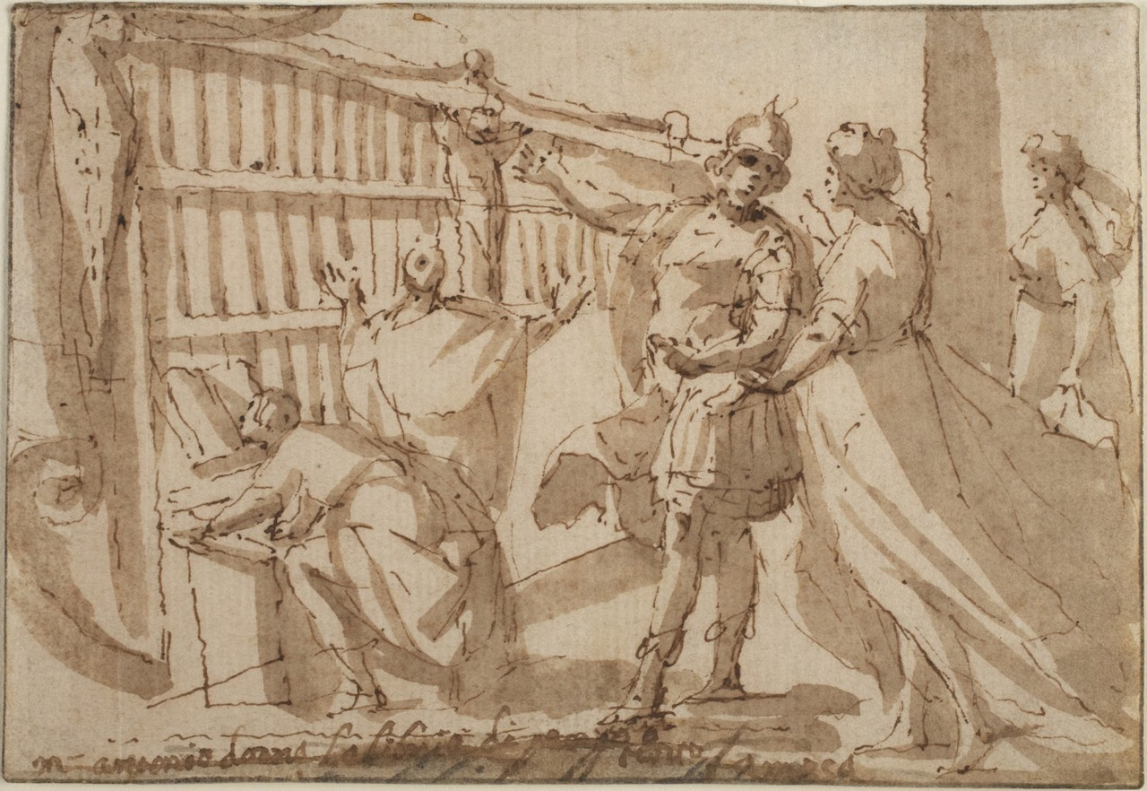 Drawing made with pen and brown ink, with brush and brown wash with traces of black chalk, that depicts Antony gesturing toward books of the Library of Pergamum that he is giving to Cleopatra, who is standing next to him.