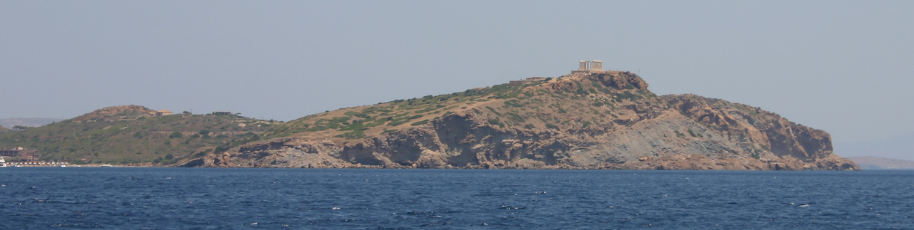 Cape Sounion in profile.