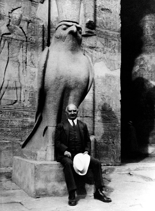 Photograph of Gulbenkian, with Horus, 1934, in Egypt.