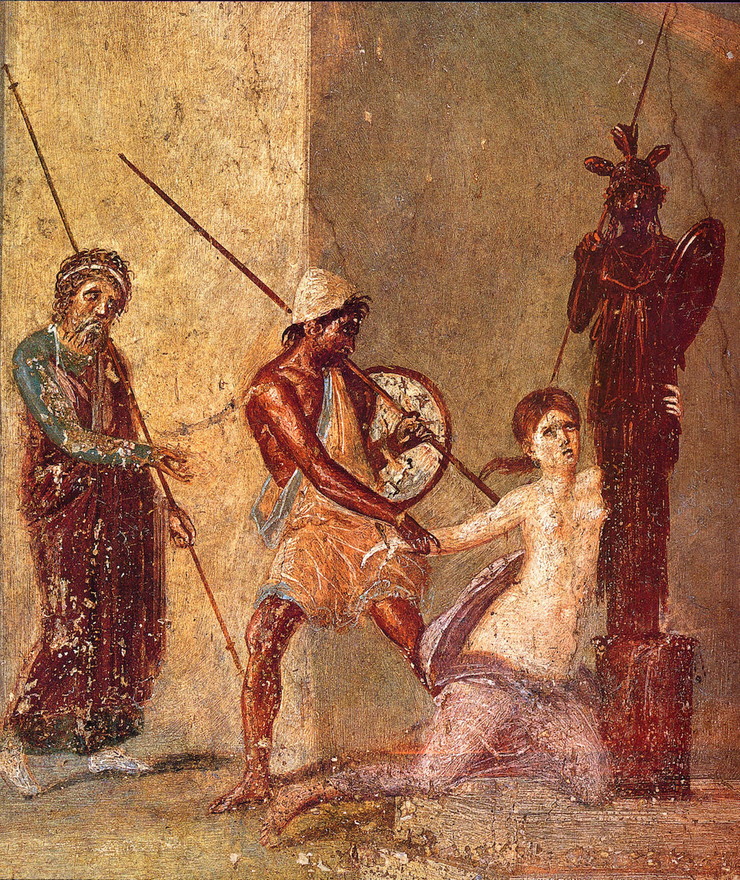 Cassandra clings to the Xoanon, the wooden cult image of Athene, while Ajax the Lesser is about to drag her away in front of her father Priam (standing on the left). Roman fresco from the atrium of the Casa del Menandro (I 10, 4) in Pompeii.
